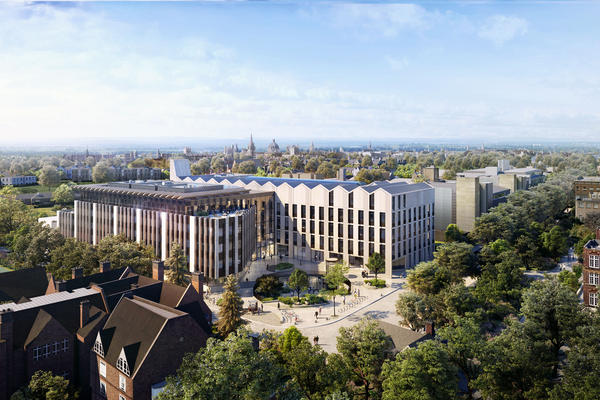 Aerial view of the Life and Mind Building and Oxford skyline.