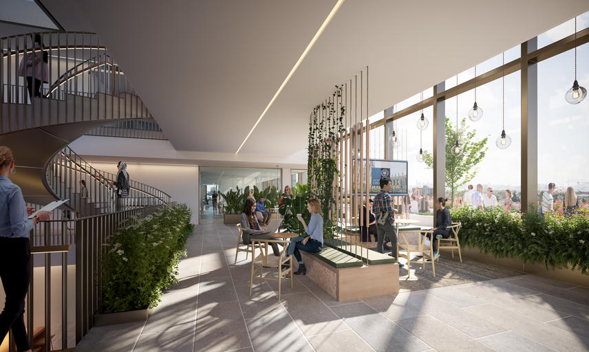 Architect's rendering of the internal terrace on level 03 which is adjacent to a large external rooftop terrace. The meeting pockets on this level are infused with greenery to tie into the outdoors and provide a relaxing environment for users.