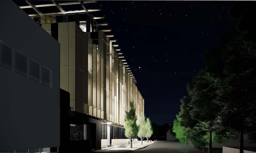 Architect's rendering of the Life and Mind Building east facing façade at night.